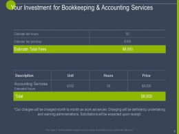 Your Investment For Bookkeeping And Accounting Services Ppt Powerpoint Slides