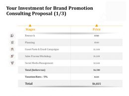 Your Investment For Brand Promotion Consulting Proposal Research Ppt Slide