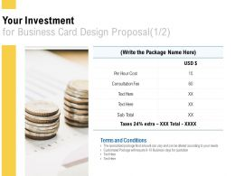 Your Investment For Business Card Design Proposal Marketing Ppt Powerpoint Presentation File