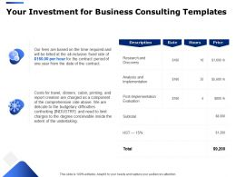 Your Investment For Business Consulting Templates Ppt Powerpoint Presentation Samples