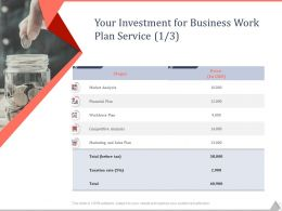 Your Investment For Business Work Plan Service Ppt Powerpoint Presentation Template