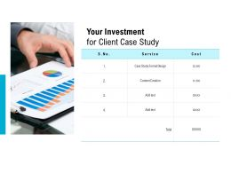 Your Investment For Client Case Study Ppt Powerpoint Presentation Styles