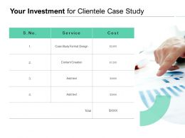 Your Investment For Clientele Case Study Ppt Powerpoint Presentation Icon Picture