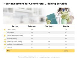 Your Investment For Commercial Cleaning Services Ppt Powerpoint Presentation Slide