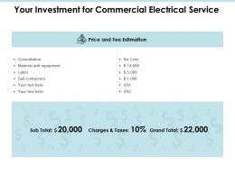 Your Investment For Commercial Electrical Service Ppt Slides