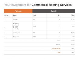 Your Investment For Commercial Roofing Services Ppt Powerpoint Presentation Diagram
