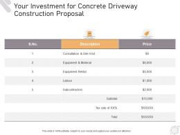 Your Investment For Concrete Driveway Construction Proposal Ppt Powerpoint Presentation Styles Slides
