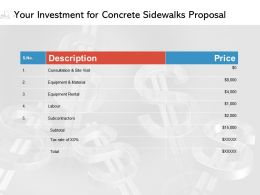 Your Investment For Concrete Sidewalks Proposal Ppt Powerpoint Presentation Images