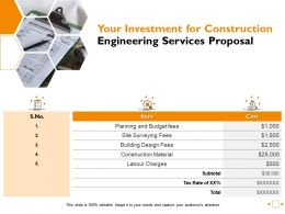 Your Investment For Construction Engineering Services Proposal Ppt Powerpoint Presentation Outline Layout Ideas