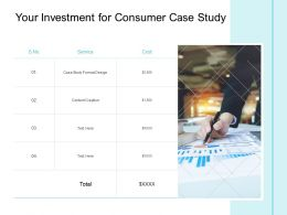 Your Investment For Consumer Case Study Ppt Powerpoint Presentation Ideas