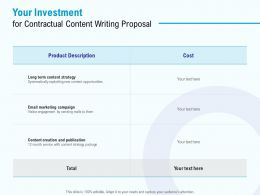 Your Investment For Contractual Content Writing Proposal Ppt Powerpoint Presentation Inspiration Slides
