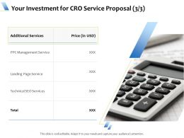 Your Investment For CRO Service Proposal L1738 Ppt Powerpoint Presentation Inspiration