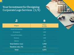 Your Investment For Designing Corporate Logo Services L1686 Ppt Powerpoint Icon