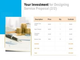 Your Investment For Designing Service Proposal Strategy Ppt Powerpoint Presentation Objects