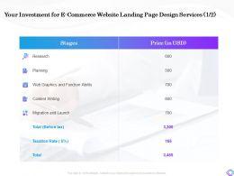 Your Investment For E Commerce Website Landing Page Design Services Graphics Ppt Slides File Formats