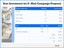 Your Investment For E Mail Campaign Proposal Ppt Powerpoint Presentation Guide