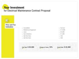 Your Investment For Electrical Maintenance Contract Proposal Ppt Grid Demonstration