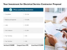 Your Investment For Electrical Service Contractor Proposal Ppt Slides