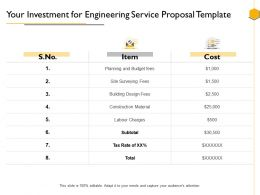 Your Investment For Engineering Service Proposal Template Ppt Powerpoint Presentation Good