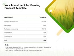 Your Investment For Farming Proposal Template Ppt Powerpoint Presentation Icon