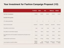 Your Investment For Fashion Campaign Proposal Ppt Powerpoint Presentation Slides