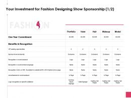 Your Investment For Fashion Designing Show Sponsorship Ppt Slides