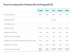 Your Investment For Fashion Event Proposal Valet Ppt Powerpoint