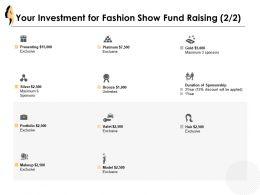 Your Investment For Fashion Show Fund Raising Powerpoint Presentation