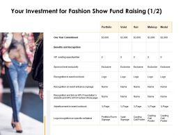 Your Investment For Fashion Show Fund Raising Ppt Slides