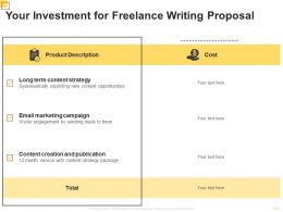 Your Investment For Freelance Writing Proposal Ppt Powerpoint Presentation Pictures Example File