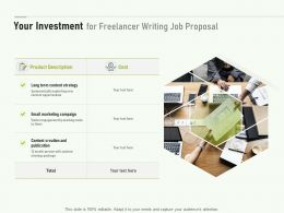 Your Investment For Freelancer Writing Job Proposal Ppt Powerpoint Ideas Portrait