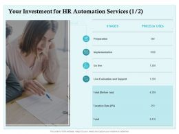 Your Investment For HR Automation Services Preparation Ppt Powerpoint Presentation Summary Layout Ideas