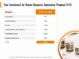 Your Investment For Human Resource Automation Proposal Support Ppt Outline
