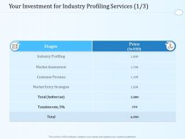 Your Investment For Industry Profiling Services L1608 Ppt Powerpoint Pictures Show