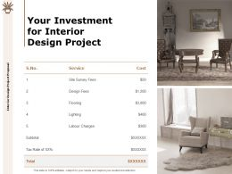 Your Investment For Interior Design Project Cost Ppt Powerpoint Slides