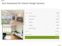 Your Investment For Interior Design Services Ppt Powerpoint Designs