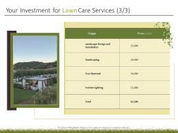 Your Investment For Lawn Care Services Ppt Powerpoint Presentation Ideas