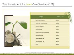 Your Investment For Lawn Care Services Ppt Powerpoint Professional