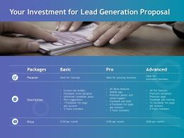 Your Investment For Lead Generation Proposal Ppt Powerpoint Good