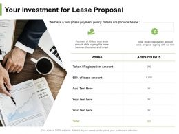 Your Investment For Lease Proposal Ppt Powerpoint Presentation Visual Aids Show