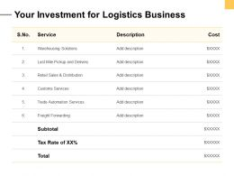Your Investment For Logistics Business Ppt Powerpoint Presentation Skills