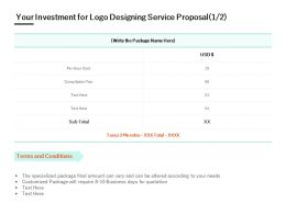 Your Investment For Logo Designing Service Proposal Terms Ppt Powerpoint