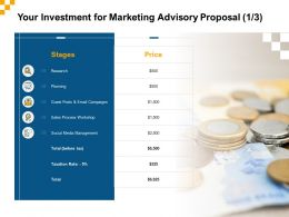 Your Investment For Marketing Advisory Proposal Ppt Powerpoint Template