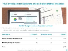 Your Investment For Marketing And Its Future Metrics Proposal Ppt Slides