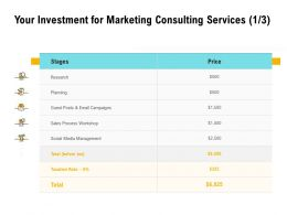 Your Investment For Marketing Consulting Services L1438 Ppt Powerpoint Display