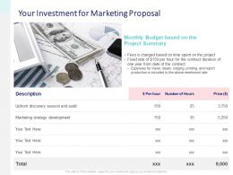 Your Investment For Marketing Proposal Ppt Powerpoint Slides