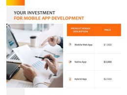 Your Investment For Mobile App Development Ppt Powerpoint Presentation Icon