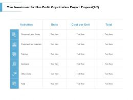 Your Investment For Non Profit Organization Project Proposal Training Ppt Slide