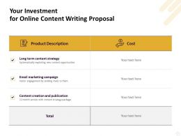 Your Investment For Online Content Writing Proposal Ppt Powerpoint Images