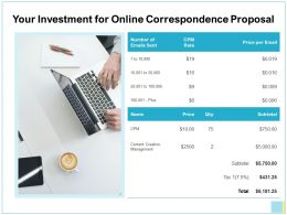 Your Investment For Online Correspondence Proposal Ppt Show